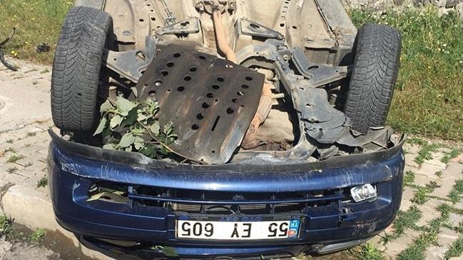 Samsun'da otomobil takla atıp ters döndü: 1 yaralı