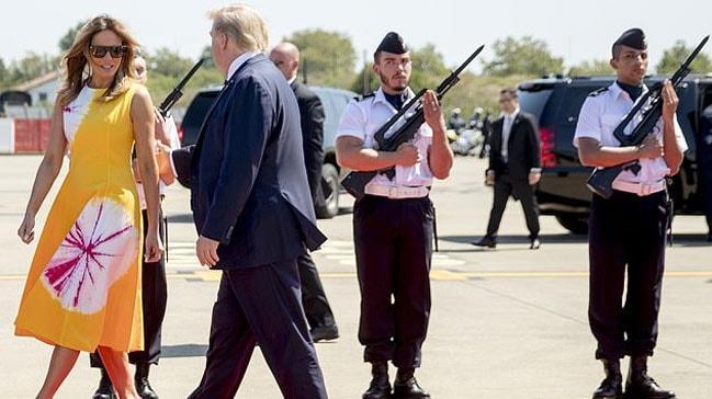İngiliz basını, Fransız askerlerin Melania Trump'a bakışını konuşuyor