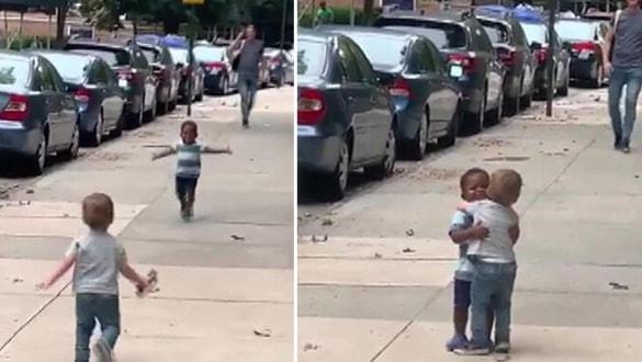 2 yaşındaki çocukların kavuşma videosu sosyal medyada damga vurdu
