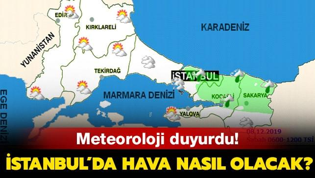 8 Aralık Pazar İstanbul hava durumu
