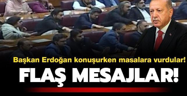 Başkan Erdoğan konuşurken masalara vurdular! Pakistan'dan önemli mesajlar