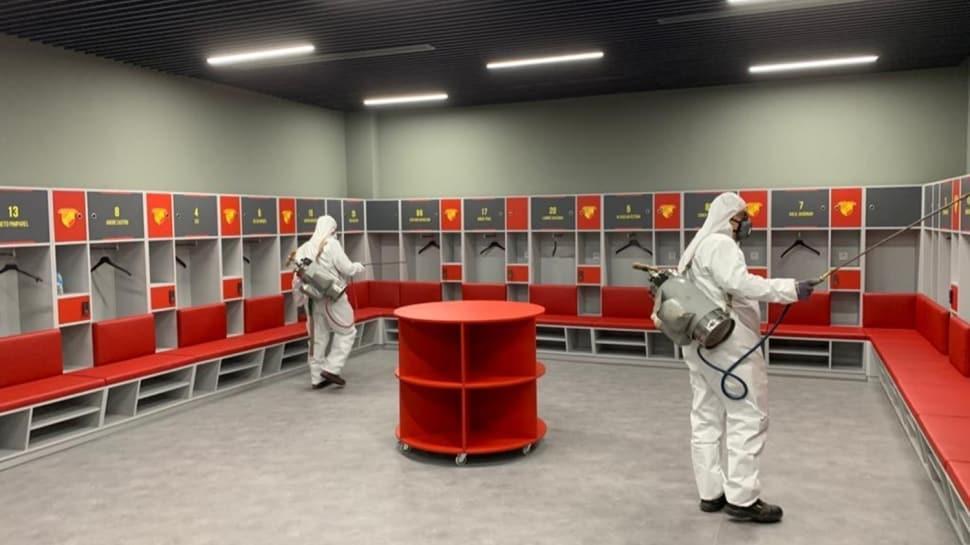 Göztepe - Rizespor maçı öncesi statta virüs temizliği