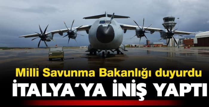 TSK'ya ait yardım malzemesi taşıyan uçak İspanya'nın ardından İtalya'ya indi