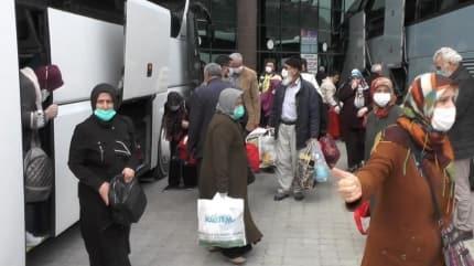 Ankara'da yurtlara yerleştirilen umreciler Karabük'e döndü