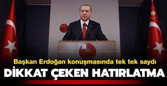 Başkan Erdoğan'ın konuşmasında dikkat çeken hatırlatma
