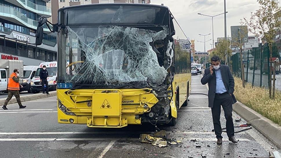Pendik'te İETT otobüsü kaza yaptı: Yaralılar var