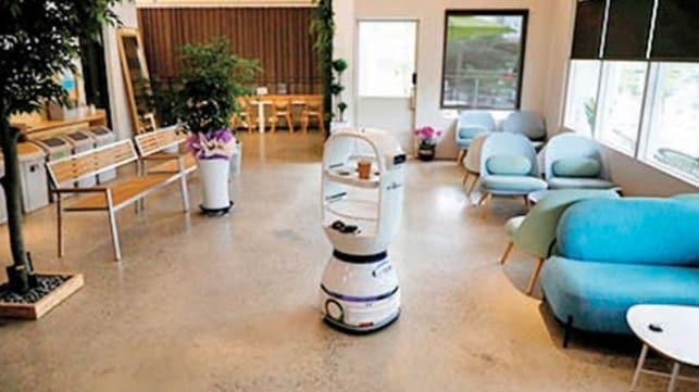 Sosyal mesafeli garson robot