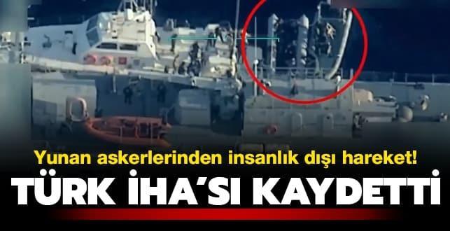 Türk İHA'sı kaydetti! Yunan askerlerinden sığınmacılara yönelik insanlık dışı hareket...