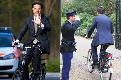 Ba�bakan toplant�ya bisikletle geldi